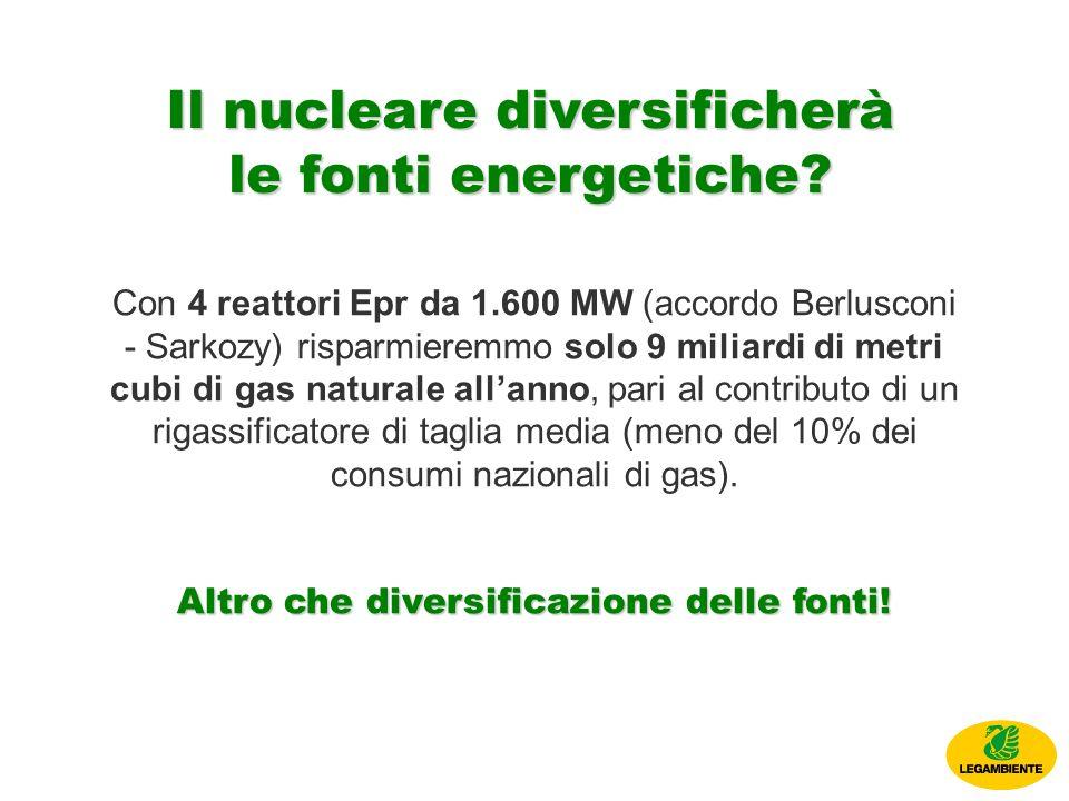 Il nucleare diversificherà le fonti energetiche.
