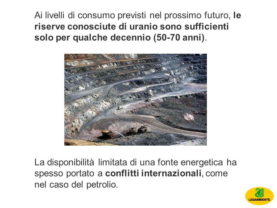 Ai livelli di consumo previsti nel prossimo futuro, le riserve conosciute di uranio sono sufficienti solo per qualche decennio (50-70 anni).