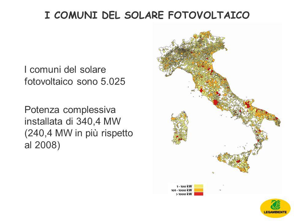 I comuni del solare fotovoltaico sono 5.025 Potenza complessiva installata di 340,4 MW (240,4 MW in più rispetto al 2008) I COMUNI DEL SOLARE FOTOVOLTAICO