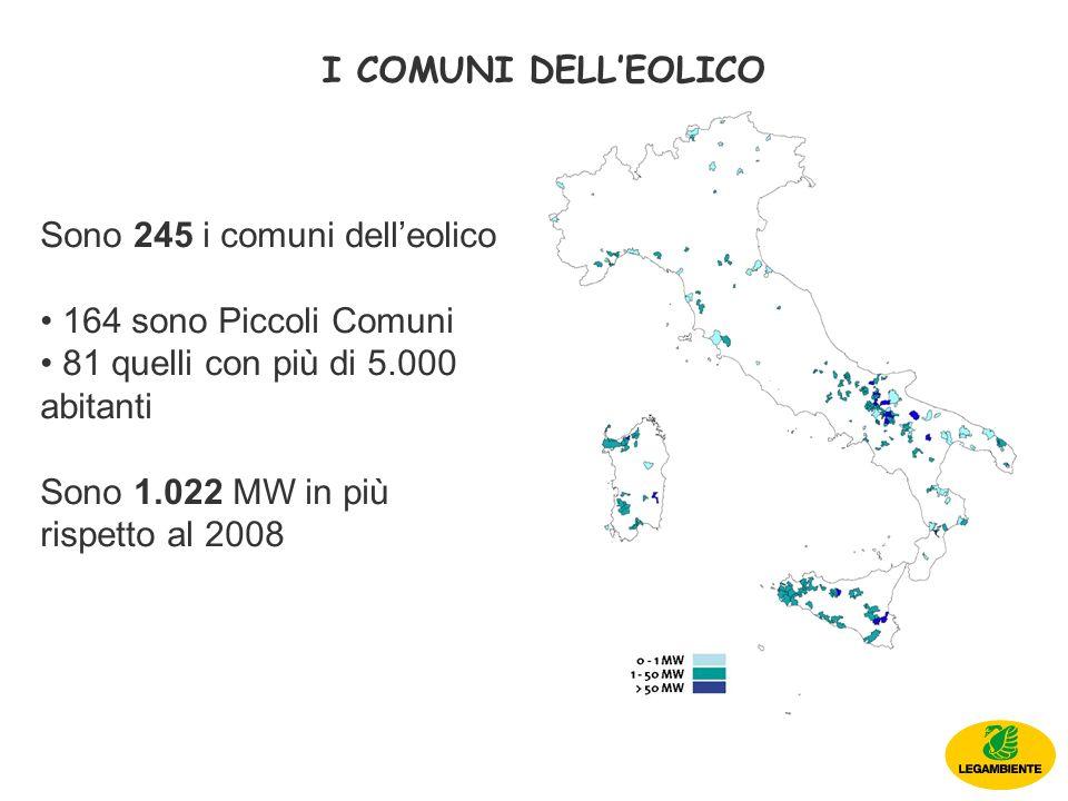 I COMUNI DELLEOLICO Sono 245 i comuni delleolico 164 sono Piccoli Comuni 81 quelli con più di 5.000 abitanti Sono 1.022 MW in più rispetto al 2008