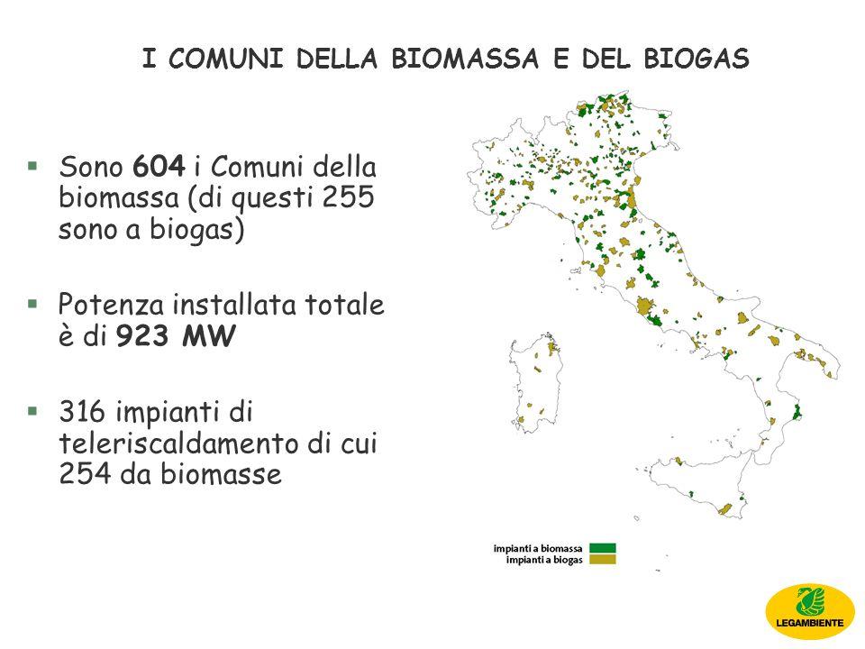 I COMUNI DELLA BIOMASSA E DEL BIOGAS §Sono 604 i Comuni della biomassa (di questi 255 sono a biogas) §Potenza installata totale è di 923 MW §316 impianti di teleriscaldamento di cui 254 da biomasse