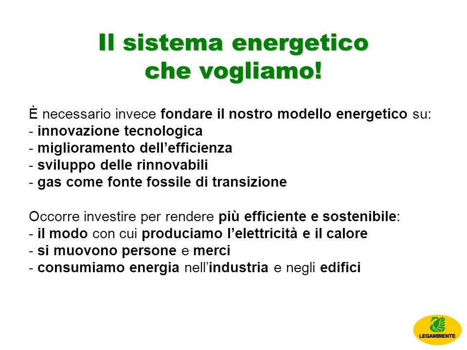 È necessario invece fondare il nostro modello energetico su: - innovazione tecnologica - miglioramento dellefficienza - sviluppo delle rinnovabili - gas come fonte fossile di transizione Occorre investire per rendere più efficiente e sostenibile: - il modo con cui produciamo lelettricità e il calore - si muovono persone e merci - consumiamo energia nellindustria e negli edifici Il sistema energetico che vogliamo!
