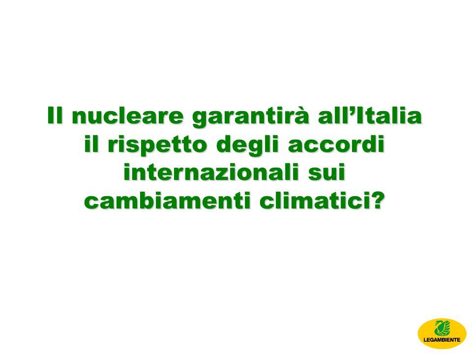 Il nucleare garantirà allItalia il rispetto degli accordi internazionali sui cambiamenti climatici?