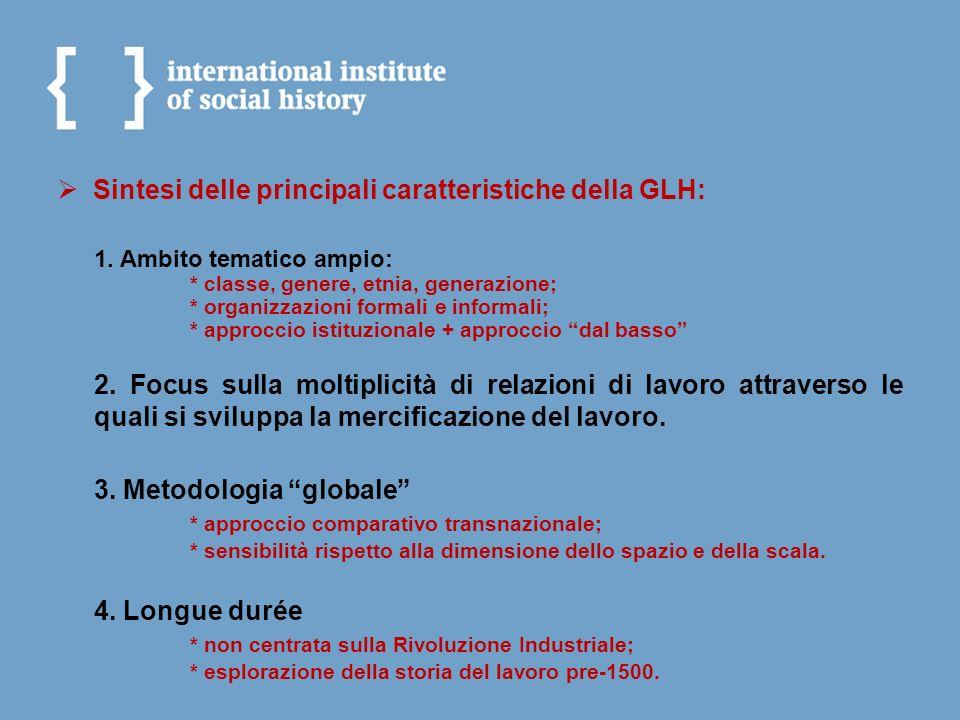 Sintesi delle principali caratteristiche della GLH: 1. Ambito tematico ampio: * classe, genere, etnia, generazione; * organizzazioni formali e informa
