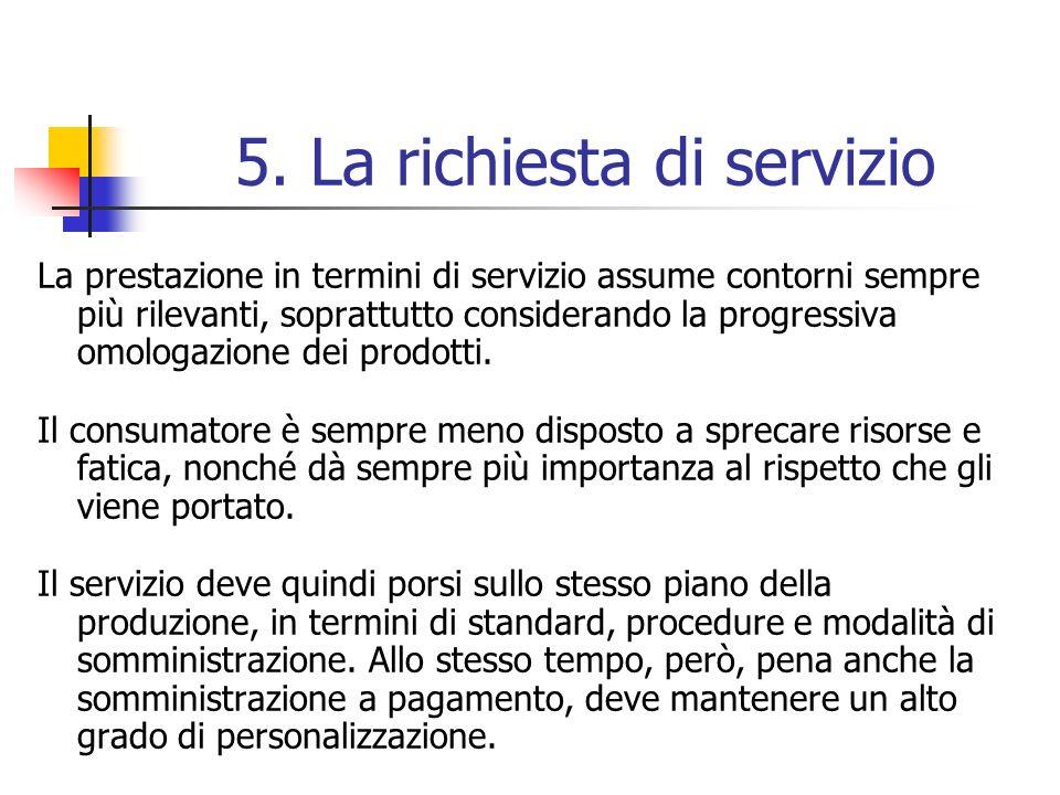 5. La richiesta di servizio La prestazione in termini di servizio assume contorni sempre più rilevanti, soprattutto considerando la progressiva omolog