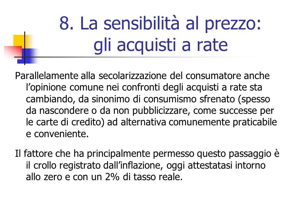 8. La sensibilità al prezzo: gli acquisti a rate Parallelamente alla secolarizzazione del consumatore anche lopinione comune nei confronti degli acqui