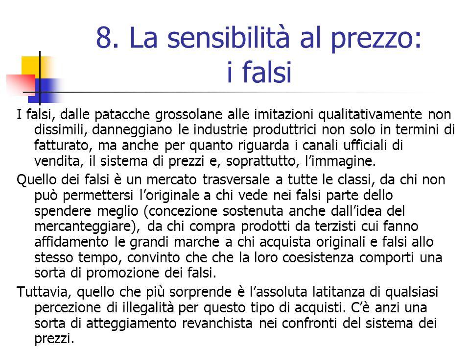 8. La sensibilità al prezzo: i falsi I falsi, dalle patacche grossolane alle imitazioni qualitativamente non dissimili, danneggiano le industrie produ