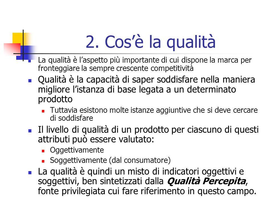 2. Cosè la qualità La qualità è laspetto più importante di cui dispone la marca per fronteggiare la sempre crescente competitività Qualità è la capaci