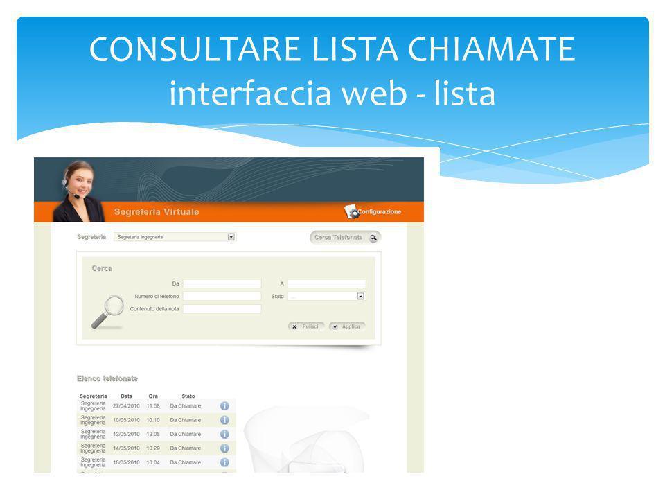 CONSULTARE LISTA CHIAMATE interfaccia web - lista