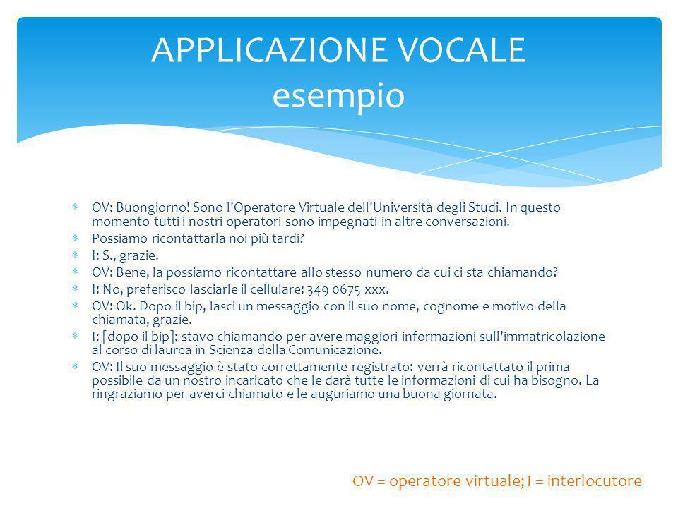 OV: Buongiorno. Sono l Operatore Virtuale dell Università degli Studi.