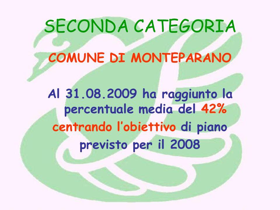 SECONDA CATEGORIA COMUNE DI MONTEPARANO Al 31.08.2009 ha raggiunto la percentuale media del 42% centrando lobiettivo di piano previsto per il 2008