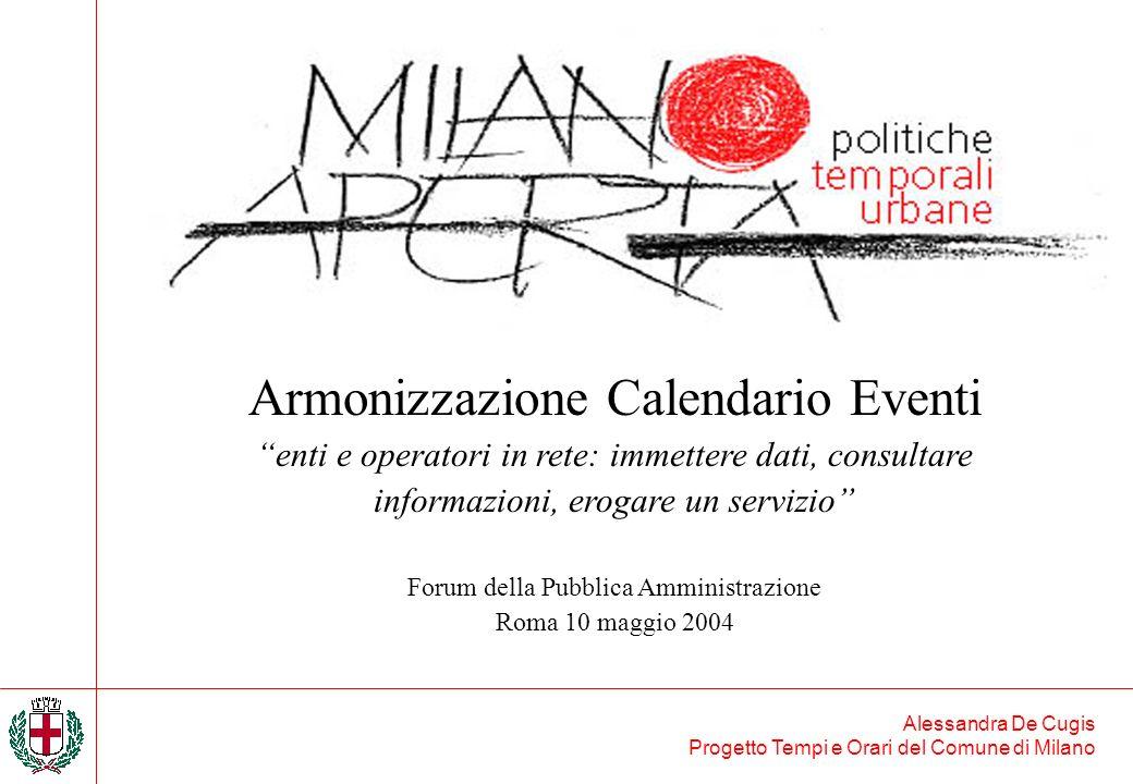 Alessandra De Cugis Progetto Tempi e Orari del Comune di Milano Armonizzazione Calendario Eventi enti e operatori in rete: immettere dati, consultare