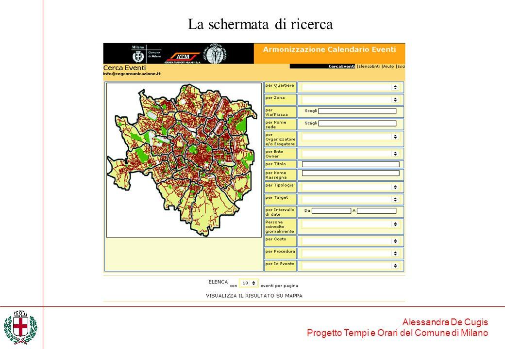 Alessandra De Cugis Progetto Tempi e Orari del Comune di Milano La schermata di ricerca