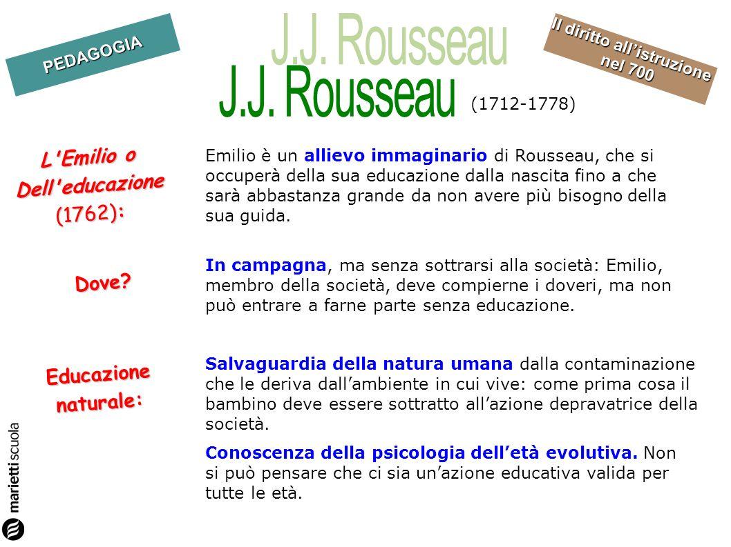 PEDAGOGIA Il diritto allistruzione nel 700 Emilio è un allievo immaginario di Rousseau, che si occuperà della sua educazione dalla nascita fino a che