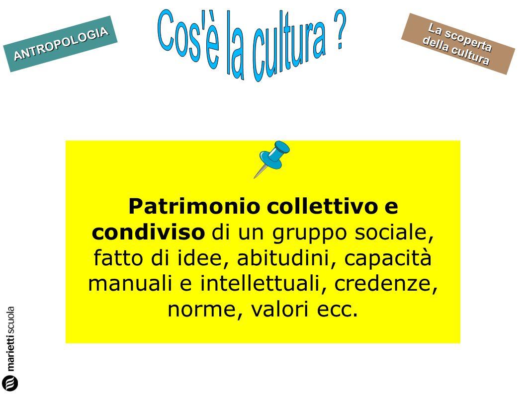 La scoperta della cultura ANTROPOLOGIA Patrimonio collettivo e condiviso di un gruppo sociale, fatto di idee, abitudini, capacità manuali e intellettu