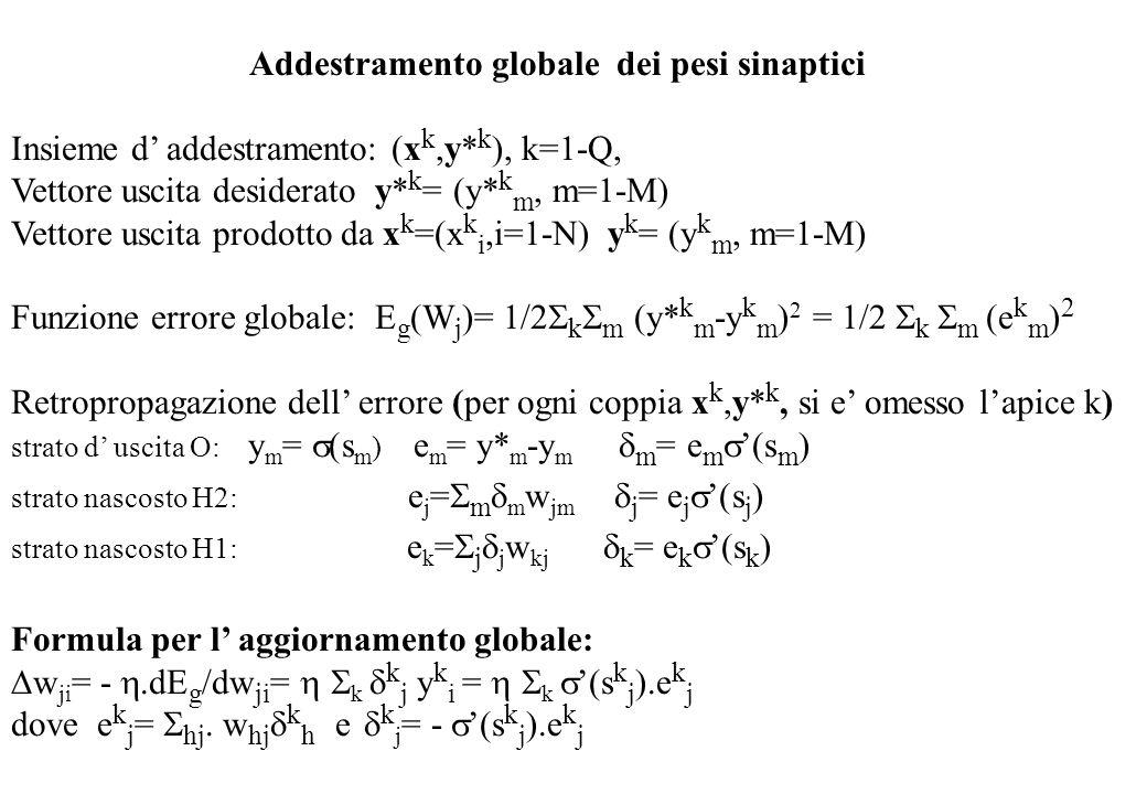 Addestramento globale dei pesi sinaptici Insieme d addestramento: (x k,y* k ), k=1-Q, Vettore uscita desiderato y* k = (y* k m, m=1-M) Vettore uscita prodotto da x k =(x k i,i=1-N) y k = (y k m, m=1-M) Funzione errore globale: E g (W j )= 1/2 k m (y* k m -y k m ) 2 = 1/2 k m e k m ) 2 Retropropagazione dell errore (per ogni coppia x k,y* k, si e omesso lapice k) strato d uscita O: y m = (s m ) e m = y* m -y m m = e m (s m ) strato nascosto H2: e j = m m w jm j = e j (s j ) strato nascosto H1: e k = j j w kj k = e k (s k ) Formula per l aggiornamento globale: w ji = -.dE g /dw ji = k k j y k i = k (s k j ).e k j dove e k j = hj w hj k h e k j = - (s k j ).e k j