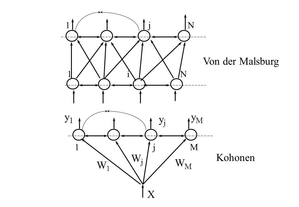 1 i N 1 j N 1 j M X Von der Malsburg Kohonen WjWj W1W1 WMWM yjyj y1y1 yMyM