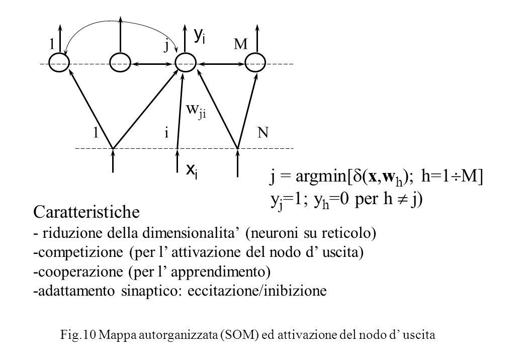 xi xi w ji 1 i N 1 j M yiyi Fig.10 Mappa autorganizzata (SOM) ed attivazione del nodo d uscita j = argmin[ (x,w h ); h=1 M] y j =1; y h =0 per h j) Caratteristiche - riduzione della dimensionalita (neuroni su reticolo) -competizione (per l attivazione del nodo d uscita) -cooperazione (per l apprendimento) -adattamento sinaptico: eccitazione/inibizione