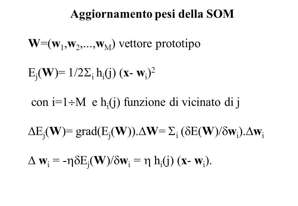 Aggiornamento pesi della SOM W=(w 1,w 2,...,w M ) vettore prototipo E j (W)= 1/2 i h i (j) (x- w i ) 2 con i=1 M e h i (j) funzione di vicinato di j E j (W)= grad(E j (W)).