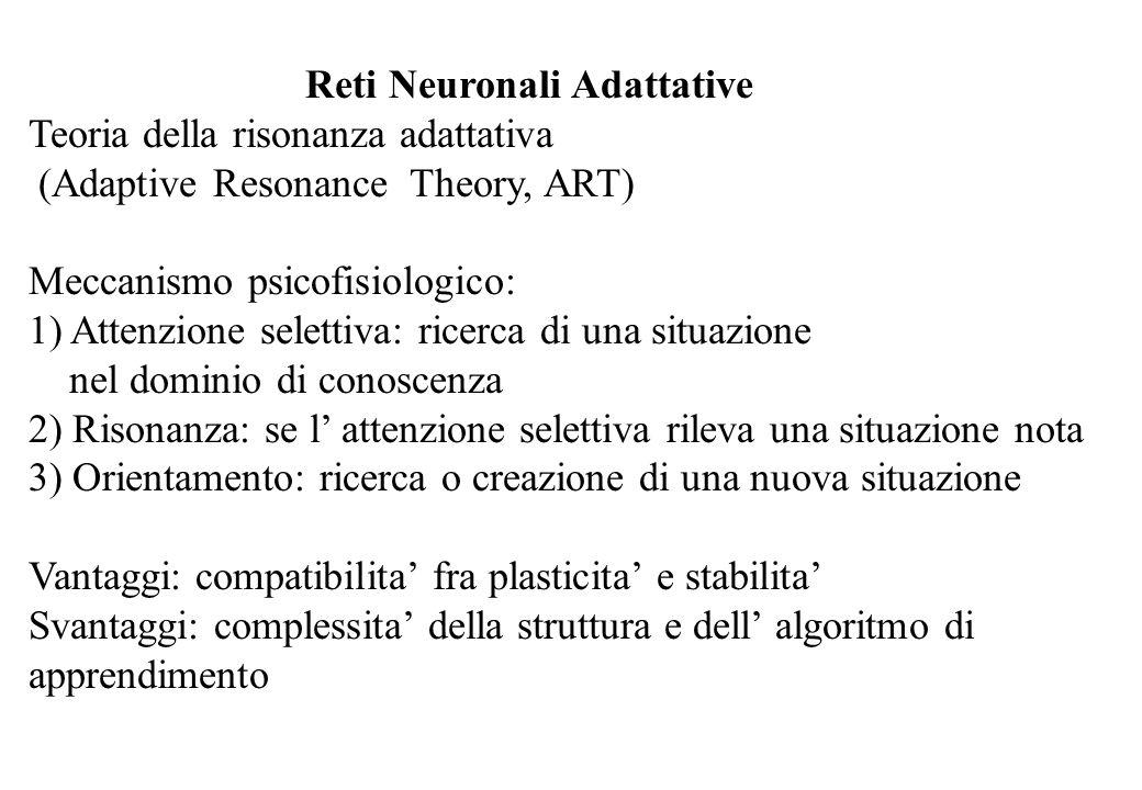 Reti Neuronali Adattative Teoria della risonanza adattativa (Adaptive Resonance Theory, ART) Meccanismo psicofisiologico: 1) Attenzione selettiva: ric