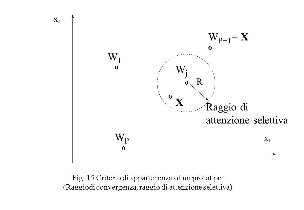 Fig. 15 Criterio di appartenenza ad un prototipo (Raggiodi convergenza, raggio di attenzione selettiva) x2x2 x1x1 W1W1 o WPWP o WjWj o W P+1 = X o R R