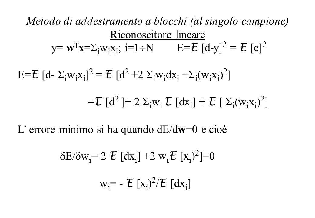 Metodo di addestramento a blocchi (al singolo campione) Riconoscitore lineare y= w T x= i w i x i ; i=1 N E= E [d-y] 2 = E [e] 2 E= E [d- i w i x i ] 2 = E [d 2 +2 i w i dx i + i (w i x i ) 2 ] = E [d 2 ]+ 2 i w i E [dx i ] + E [ i (w i x i ) 2 ] L errore minimo si ha quando dE/dw=0 e cioè E/ w i = 2 E [dx i ] +2 w i E [x i ) 2 ]=0 w i = - E [x i ) 2 / E [dx i ]