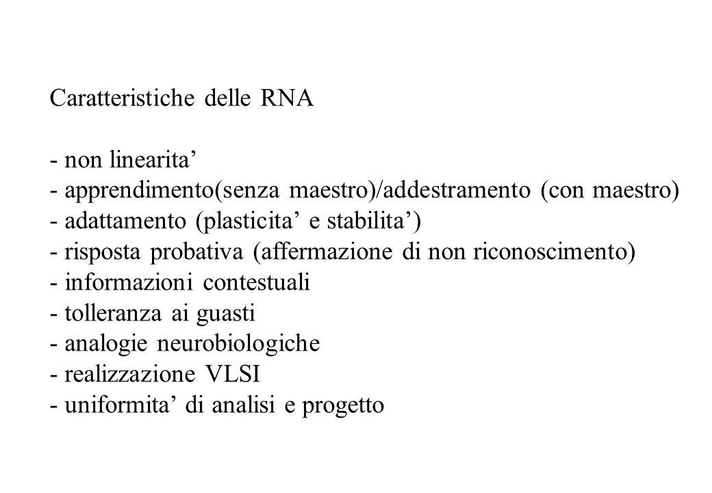 Caratteristiche delle RNA - non linearita - apprendimento(senza maestro)/addestramento (con maestro) - adattamento (plasticita e stabilita) - risposta probativa (affermazione di non riconoscimento) - informazioni contestuali - tolleranza ai guasti - analogie neurobiologiche - realizzazione VLSI - uniformita di analisi e progetto