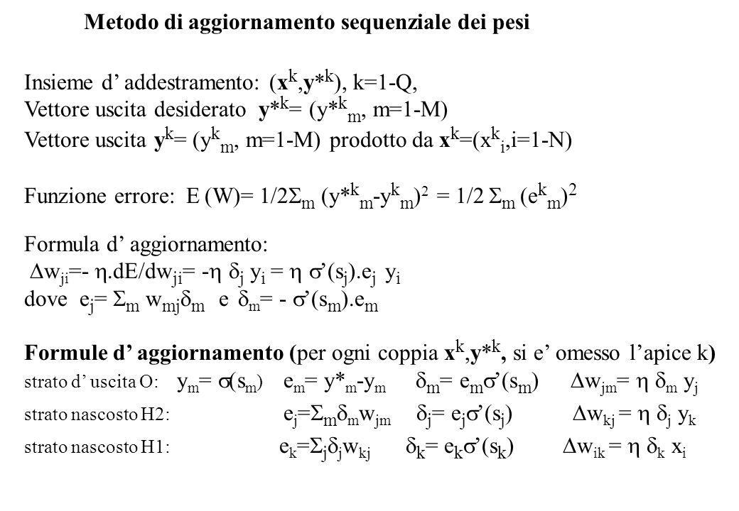 Metodo di aggiornamento sequenziale dei pesi Insieme d addestramento: (x k,y* k ), k=1-Q, Vettore uscita desiderato y* k = (y* k m, m=1-M) Vettore uscita y k = (y k m, m=1-M) prodotto da x k =(x k i,i=1-N) Funzione errore: E (W)= 1/2 m (y* k m -y k m ) 2 = 1/2 m e k m ) 2 Formula d aggiornamento: w ji =-.dE/dw ji = - j y i = (s j ).e j y i dove e j = m w mj m e m = - (s m ).e m Formule d aggiornamento (per ogni coppia x k,y* k, si e omesso lapice k) strato d uscita O: y m = (s m ) e m = y* m -y m m = e m (s m ) w jm = m y j strato nascosto H2: e j = m m w jm j = e j (s j ) w kj = j y k strato nascosto H1: e k = j j w kj k = e k (s k ) w ik = k x i