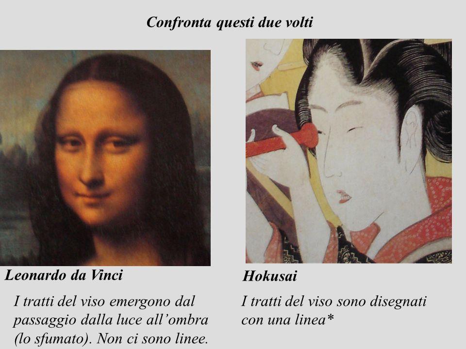 Hokusai Leonardo da Vinci I tratti del viso emergono dal passaggio dalla luce allombra (lo sfumato). Non ci sono linee. I tratti del viso sono disegna