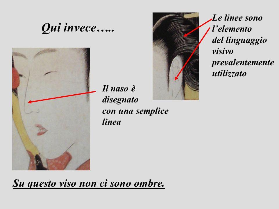 Su questo viso non ci sono ombre. Il naso è disegnato con una semplice linea Le linee sono lelemento del linguaggio visivo prevalentemente utilizzato