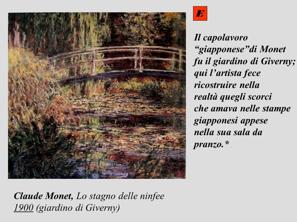 Il capolavoro giapponesedi Monet fu il giardino di Giverny; qui lartista fece ricostruire nella realtà quegli scorci che amava nelle stampe giapponesi