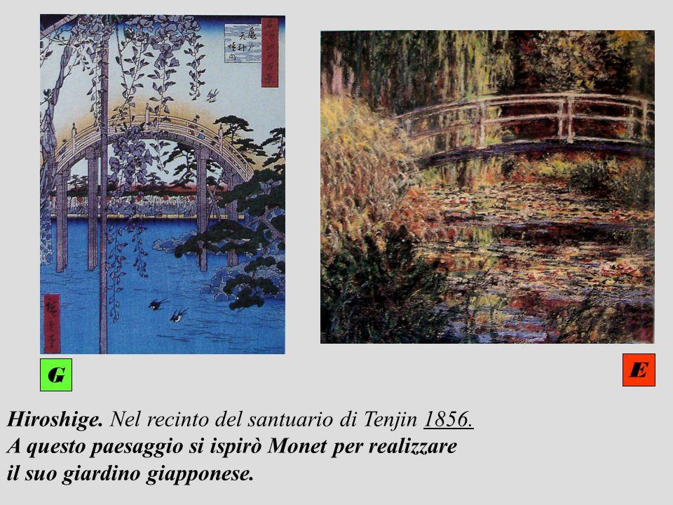 Hiroshige. Nel recinto del santuario di Tenjin 1856. A questo paesaggio si ispirò Monet per realizzare il suo giardino giapponese. E G