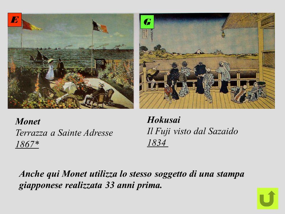 Monet Terrazza a Sainte Adresse 1867* Hokusai Il Fuji visto dal Sazaido 1834 E G Anche qui Monet utilizza lo stesso soggetto di una stampa giapponese