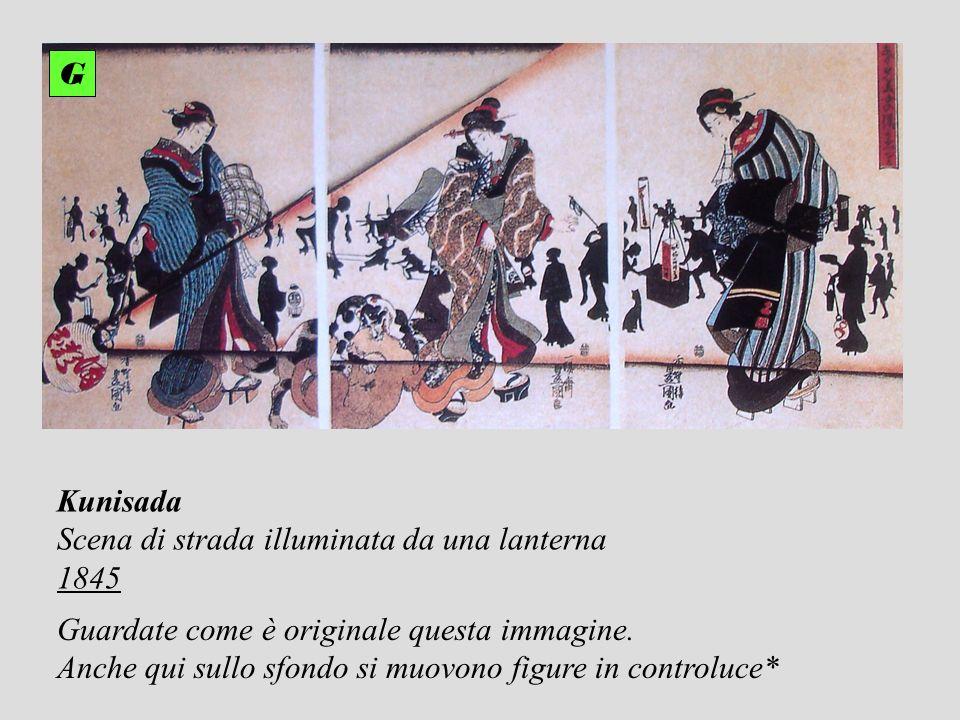 Kunisada Scena di strada illuminata da una lanterna 1845 G Guardate come è originale questa immagine. Anche qui sullo sfondo si muovono figure in cont