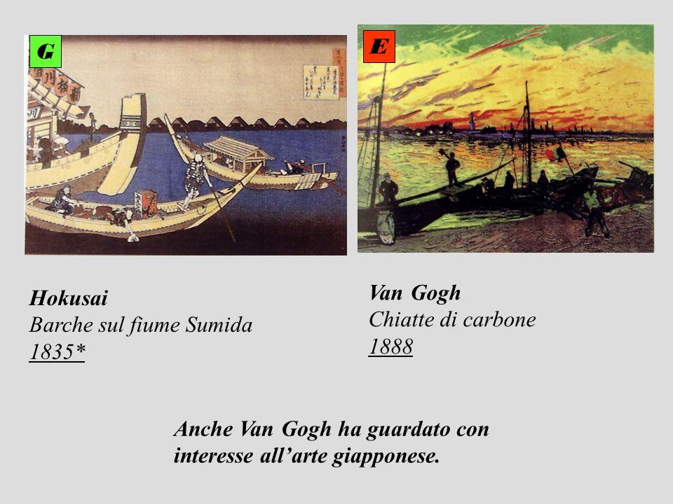 Hokusai Barche sul fiume Sumida 1835* Van Gogh Chiatte di carbone 1888 E G Anche Van Gogh ha guardato con interesse allarte giapponese.