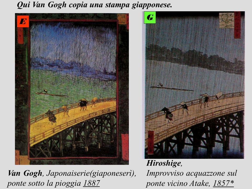Hiroshige, Improvviso acquazzone sul ponte vicino Atake, 1857* Van Gogh, Japonaiserie(giaponeserì), ponte sotto la pioggia 1887 E G Qui Van Gogh copia
