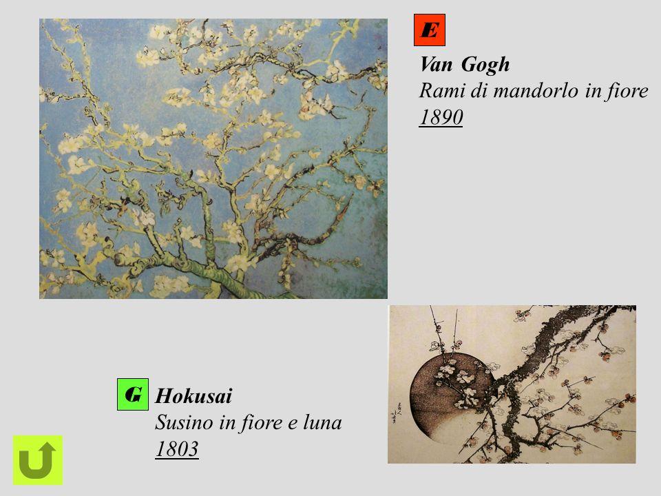 Van Gogh Rami di mandorlo in fiore 1890 Hokusai Susino in fiore e luna 1803 E G