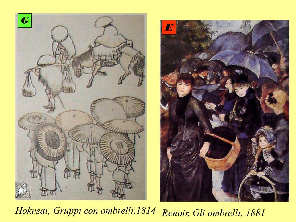Renoir, Gli ombrelli, 1881 Hokusai, Gruppi con ombrelli,1814 E G