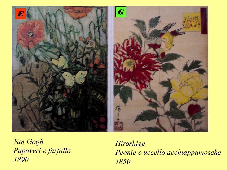 Van Gogh Papaveri e farfalla 1890 Hiroshige Peonie e uccello acchiappamosche 1850 E G