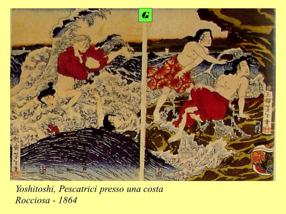 Yoshitoshi, Pescatrici presso una costa Rocciosa - 1864 G