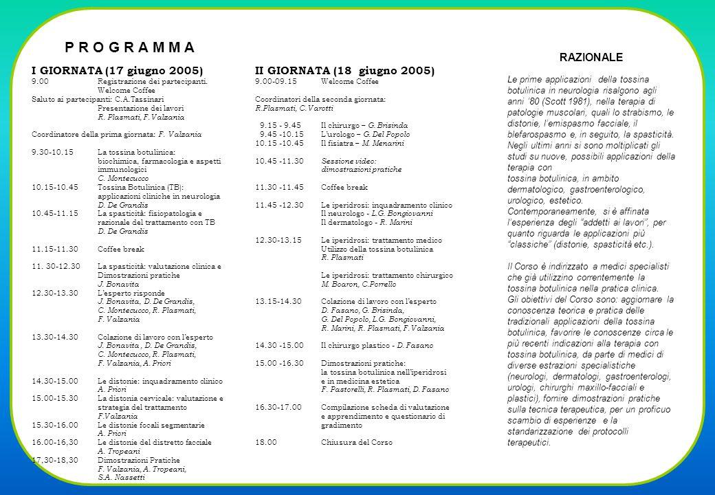P R O G R A M M A I GIORNATA (17 giugno 2005) 9.00Registrazione dei partecipanti.