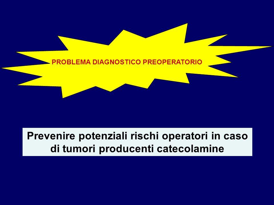 PROBLEMA DIAGNOSTICO PREOPERATORIO Prevenire potenziali rischi operatori in caso di tumori producenti catecolamine
