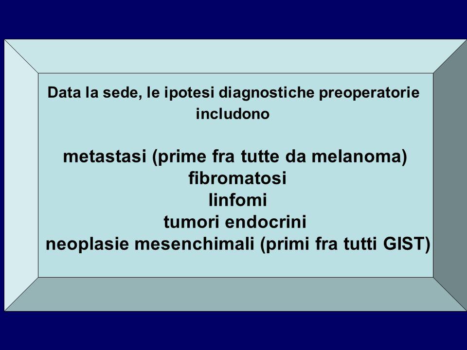 Data la sede, le ipotesi diagnostiche preoperatorie includono metastasi (prime fra tutte da melanoma) fibromatosi linfomi tumori endocrini neoplasie m