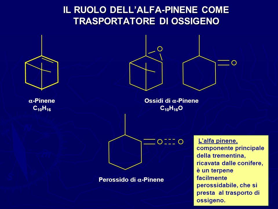 IL RUOLO DELLALFA-PINENE COME TRASPORTATORE DI OSSIGENO -Pinene C 10 H 16 Ossidi di -Pinene C 10 H 16 O Perossido di -Pinene Lalfa pinene, componente