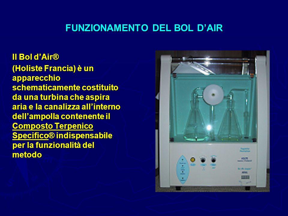 FUNZIONAMENTO DEL BOL DAIR Il Bol dAir® (Holiste Francia) è un apparecchio schematicamente costituito da una turbina che aspira aria e la canalizza al