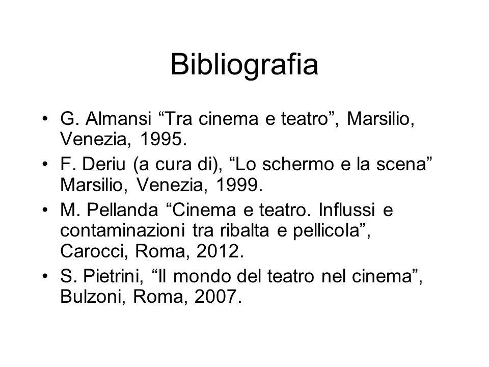 Bibliografia G. Almansi Tra cinema e teatro, Marsilio, Venezia, 1995. F. Deriu (a cura di), Lo schermo e la scena Marsilio, Venezia, 1999. M. Pellanda
