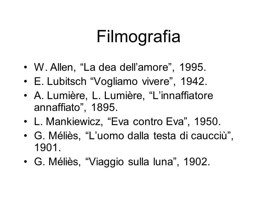Filmografia W. Allen, La dea dellamore, 1995. E. Lubitsch Vogliamo vivere, 1942. A. Lumière, L. Lumière, Linnaffiatore annaffiato, 1895. L. Mankiewicz