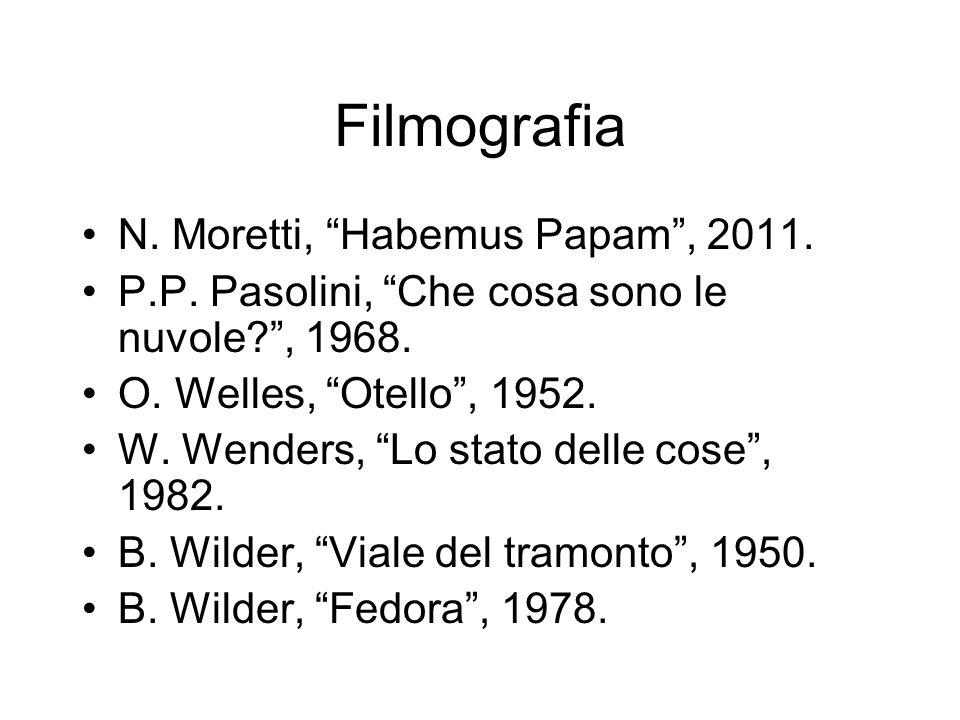 Filmografia N. Moretti, Habemus Papam, 2011. P.P. Pasolini, Che cosa sono le nuvole?, 1968. O. Welles, Otello, 1952. W. Wenders, Lo stato delle cose,