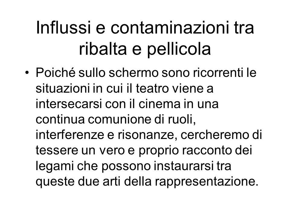 Poiché sullo schermo sono ricorrenti le situazioni in cui il teatro viene a intersecarsi con il cinema in una continua comunione di ruoli, interferenz