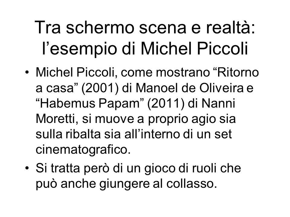 Tra schermo scena e realtà: lesempio di Michel Piccoli Michel Piccoli, come mostrano Ritorno a casa (2001) di Manoel de Oliveira e Habemus Papam (2011